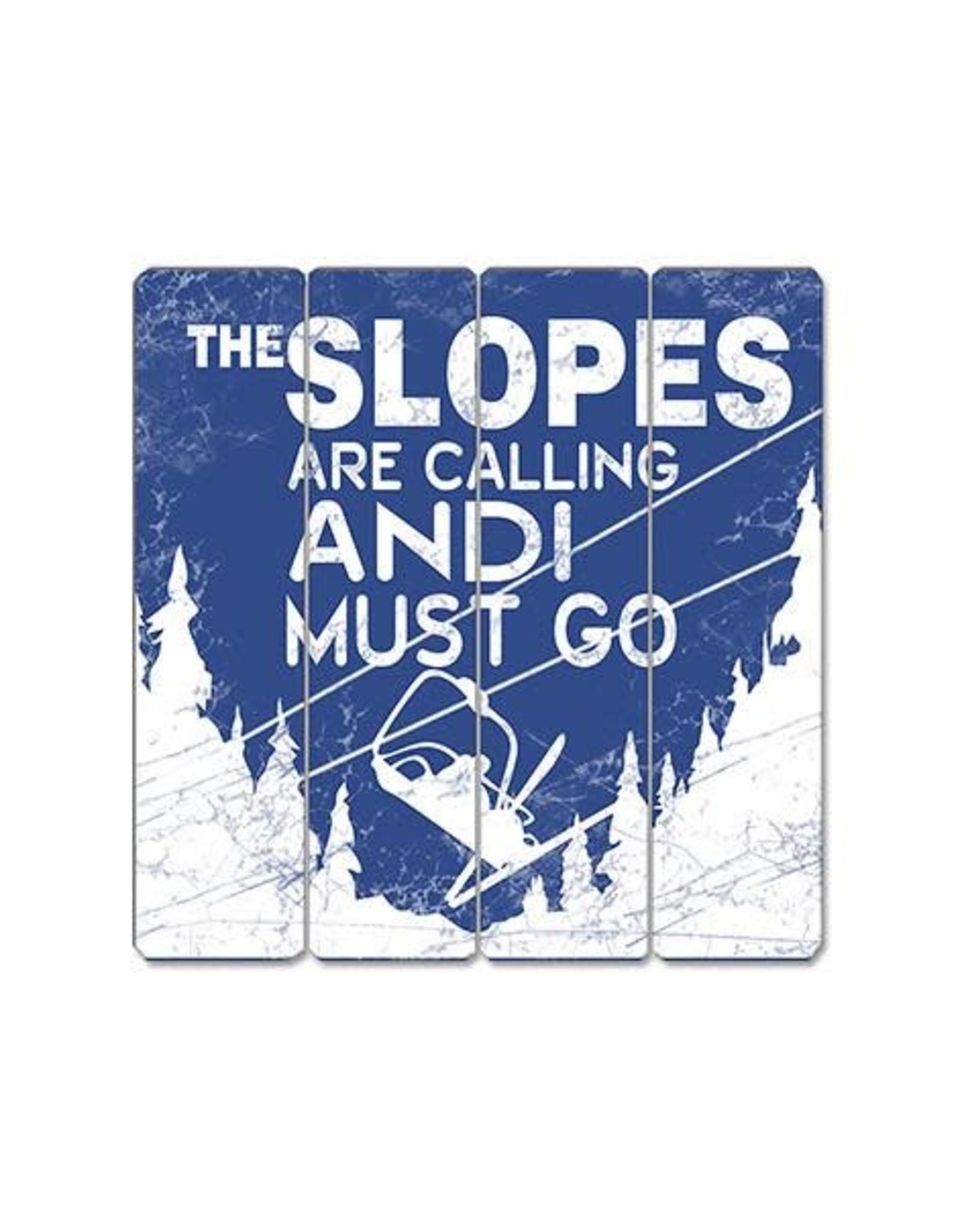 Affiche « Slopes calling» vintage en bois