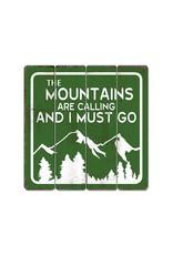 Affiche « Mountains calling » vintage en bois