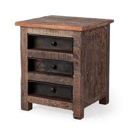 Table de chevet en bois recyclé - Wilton lll