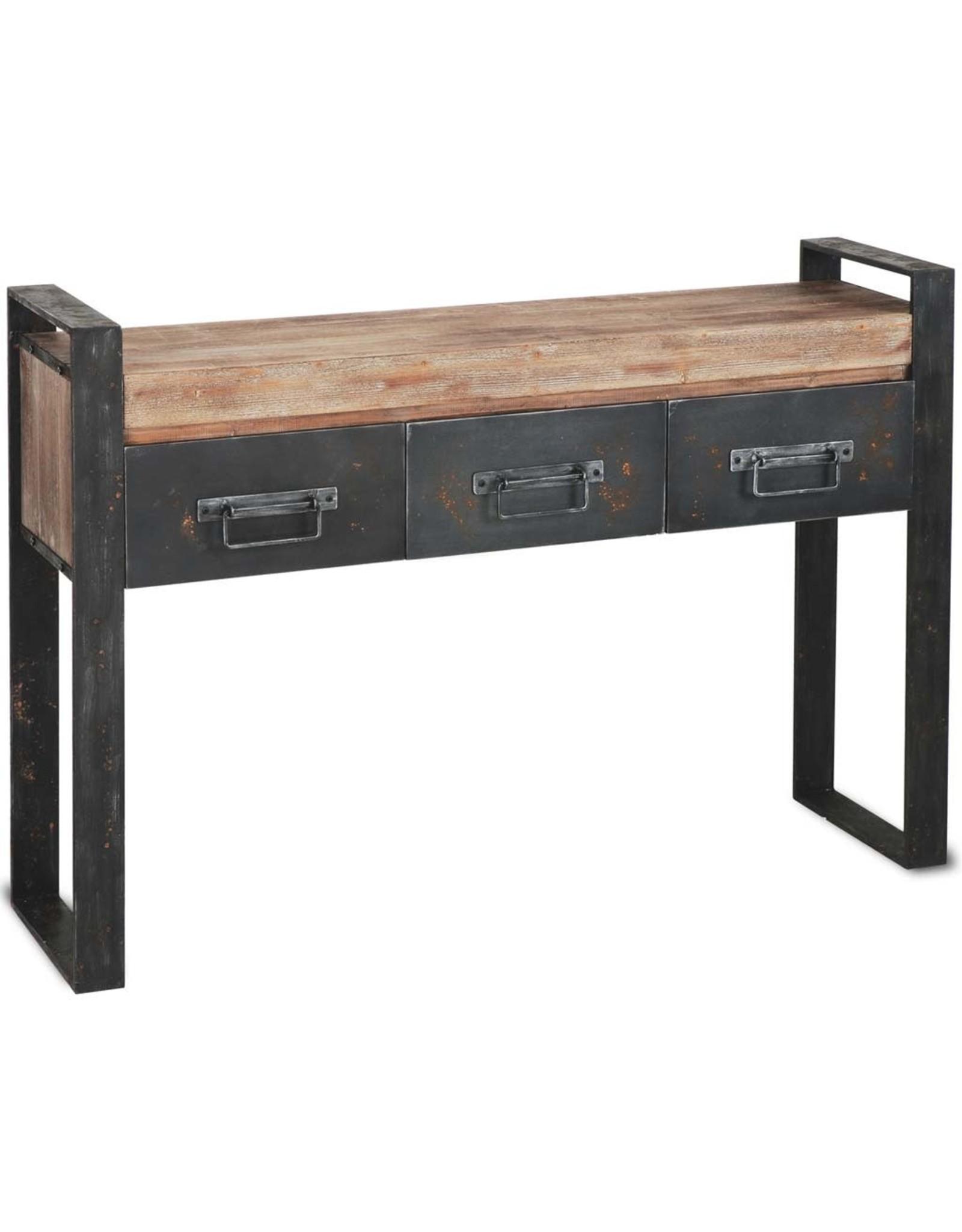 Table console « Carga » en bois brun et métal noir