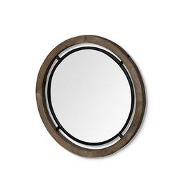 Moyen miroir « Josi II » en bois brun et métal noir