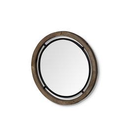 Petit miroir « Josi I » en bois brun et métal noir