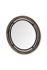 Grand miroir « Josi III » en bois brun et métal noir