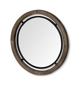 Miroir « Josi III » en bois brun et métal noir