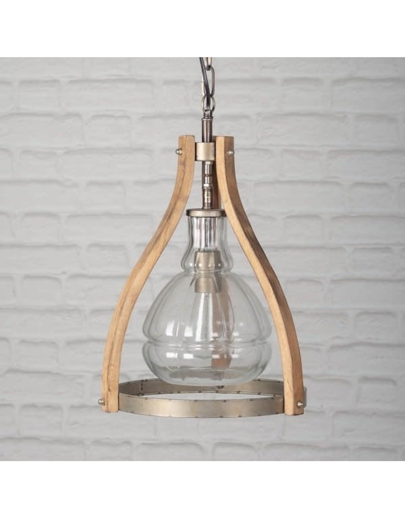 Luminaire en verre et bois