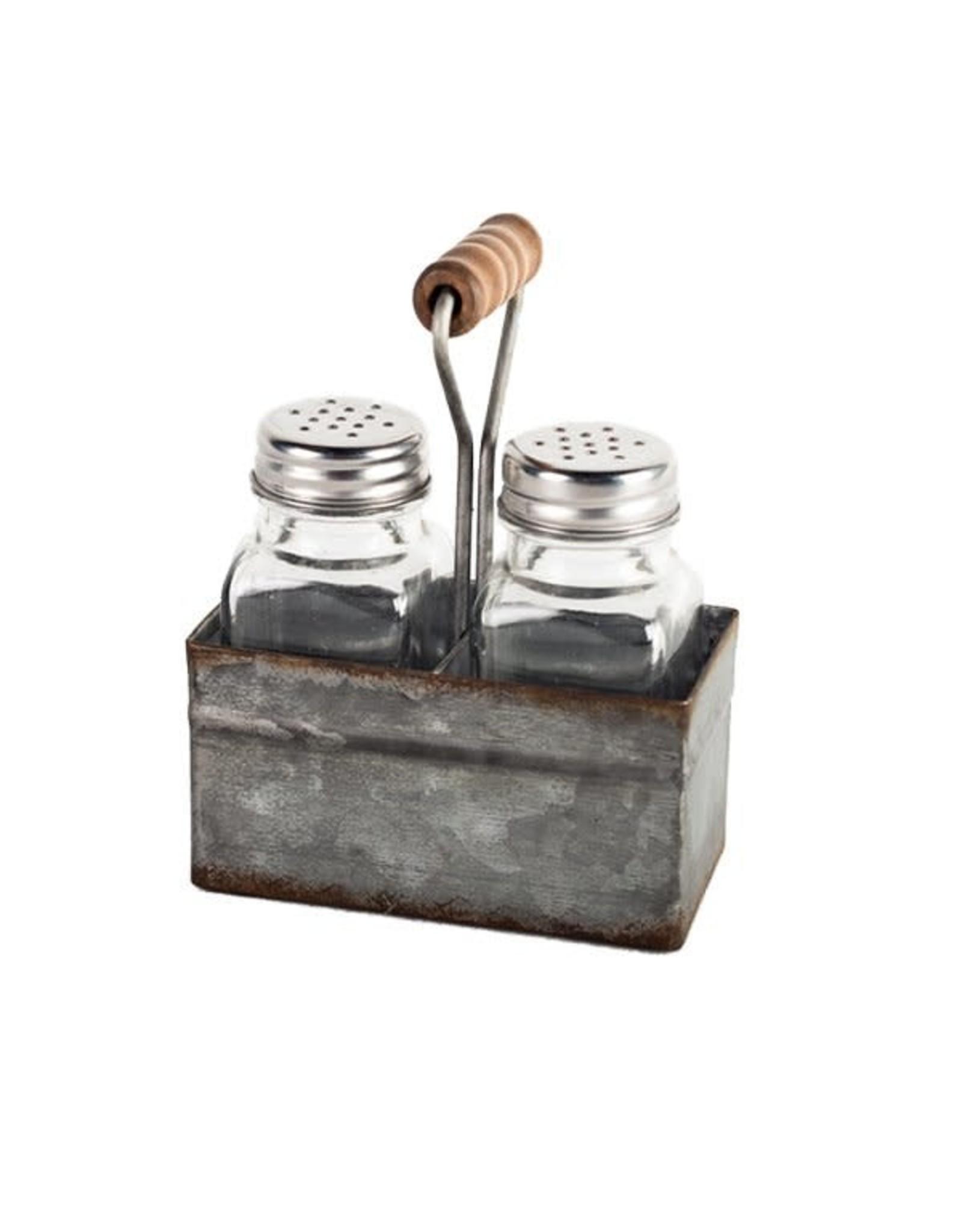 Salière et poivrière en verre sur base en métal avec poignée