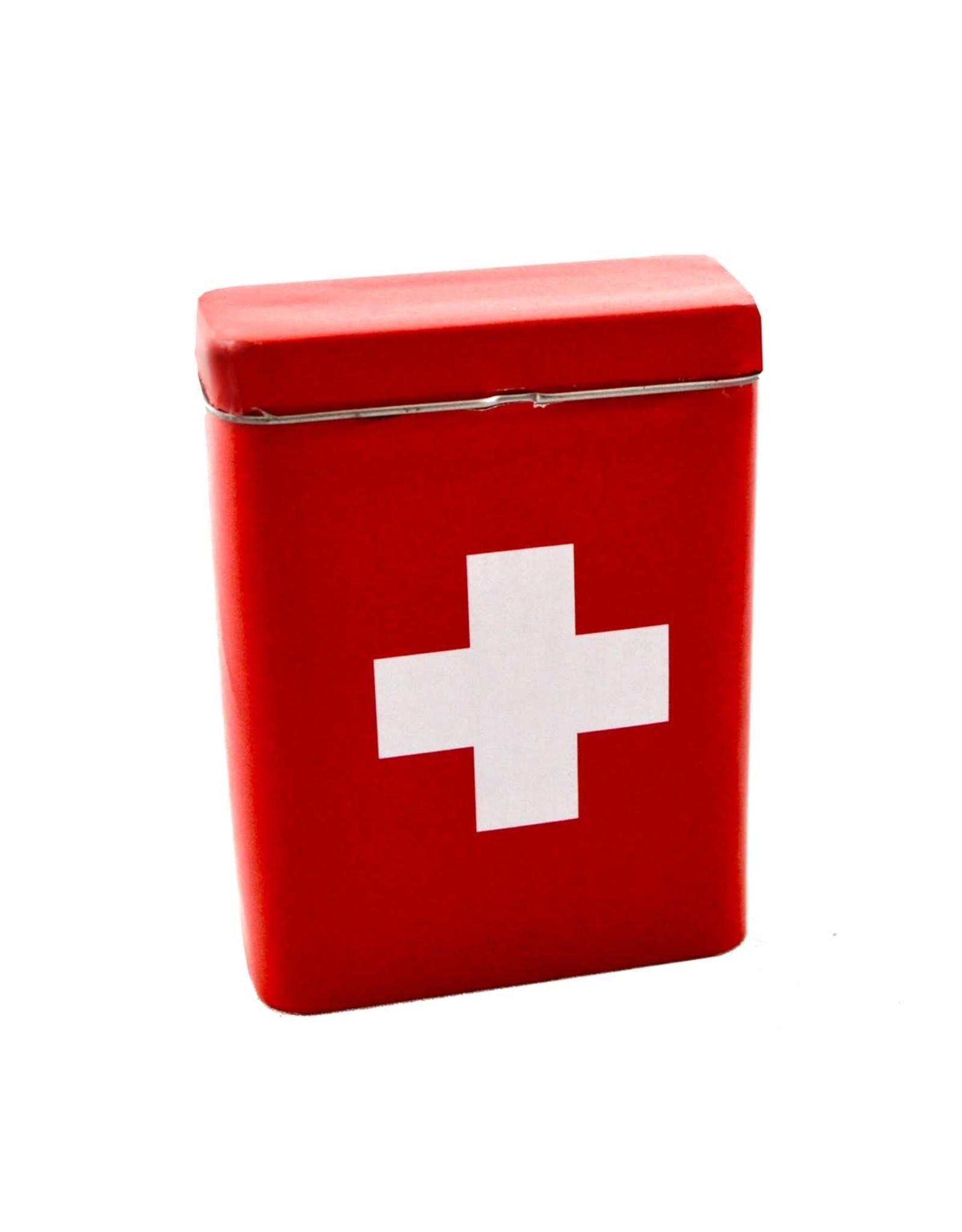 Mini boîte en métal rouge croix blanche