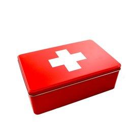 Boîte de métal rouge croix blanche