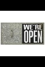 "Affiche  coulissante "" We're open/close"""