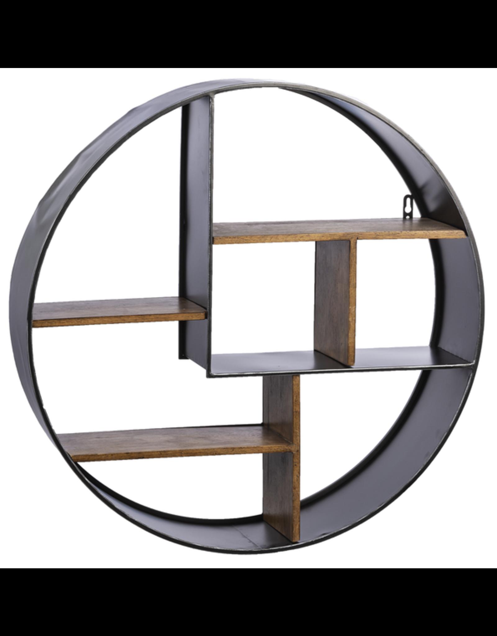 Étagère en bois rond et métal