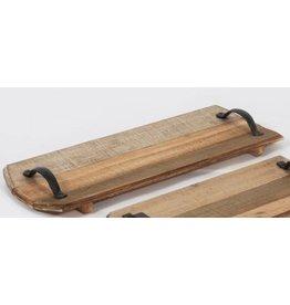 Cabaret planche de bois avec poignée en métal - grand