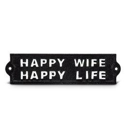 """Plaque """"Happy wife happy life """" noire"""