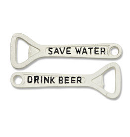 """Ouvre-bouteille """" Save water drink beer"""" blanc antique"""