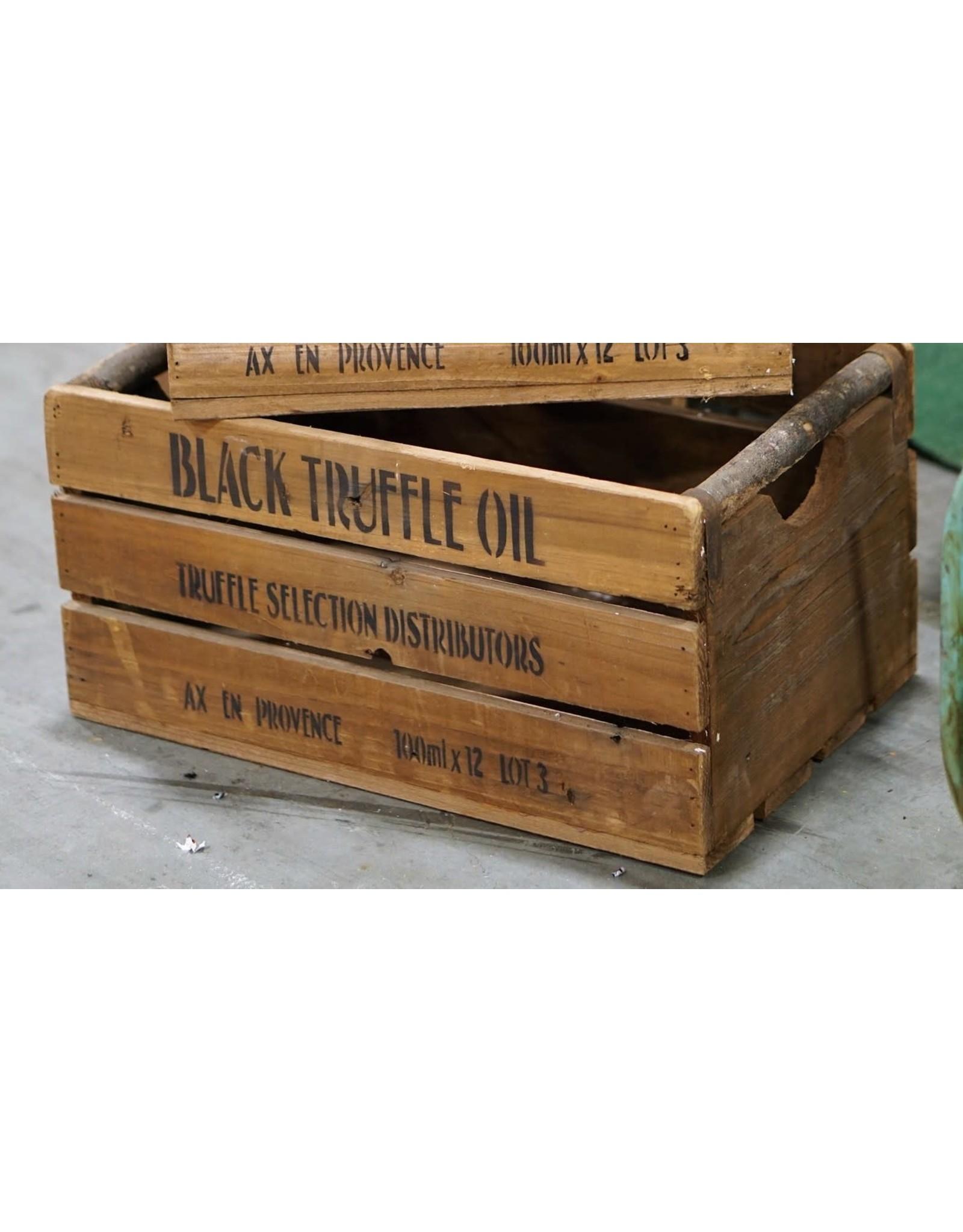 Grande boîte « Black Truffle Oil » en bois rustique
