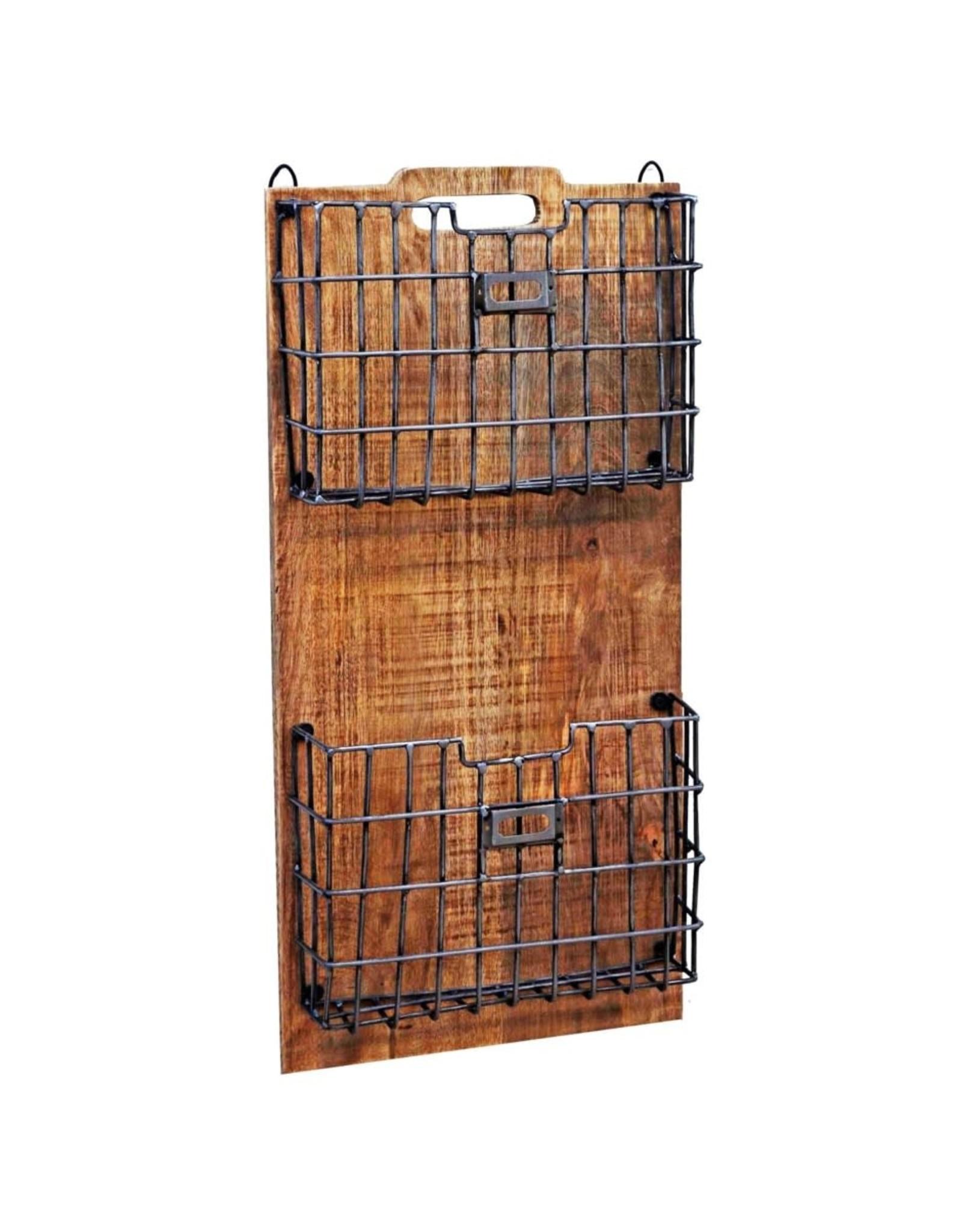Support en bois avec paniers en métal