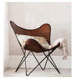 Chaise papillon en cuir brun