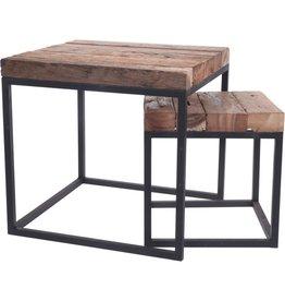 Table d'appoint Sierra en bois et métal (Set de 2)