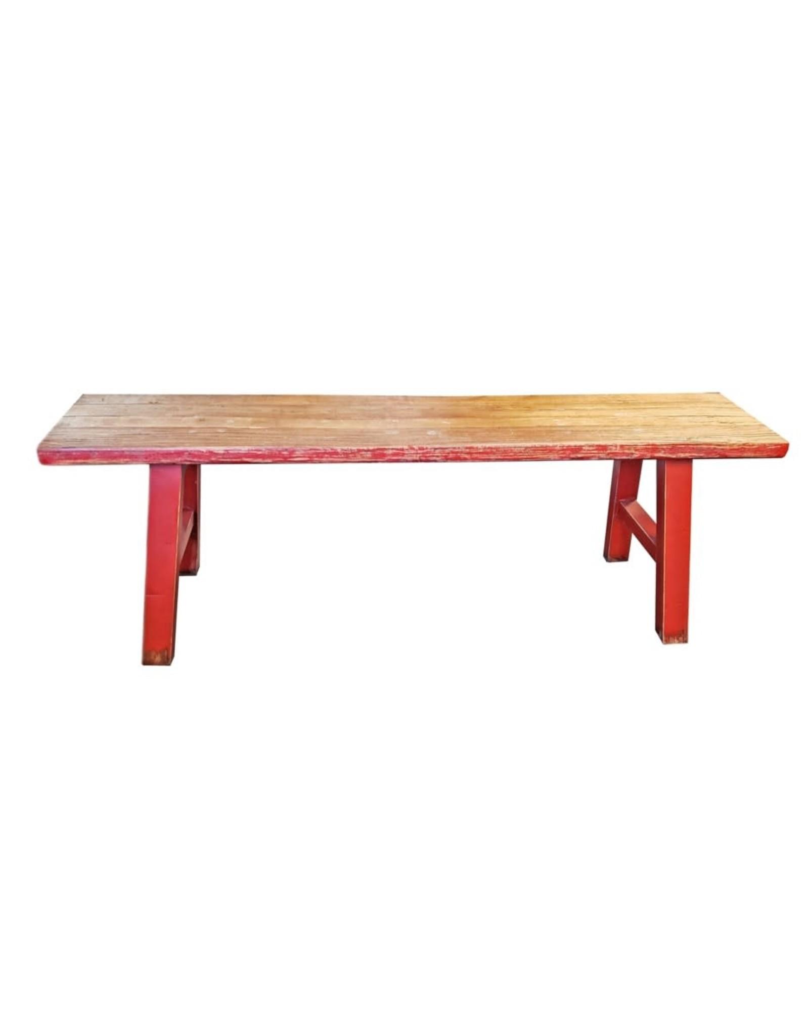 Banc en bois midwich 2 tons naturel rouge