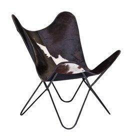 Chaise papillon peau de vache noire
