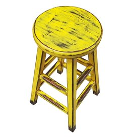 Tabouret de comptoir rond Kovu jaune