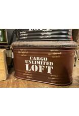 Bac Cargo bourgogne en cuir et métal