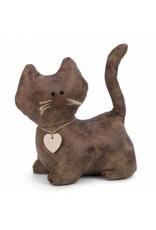 Butoir chat brun en cuirette