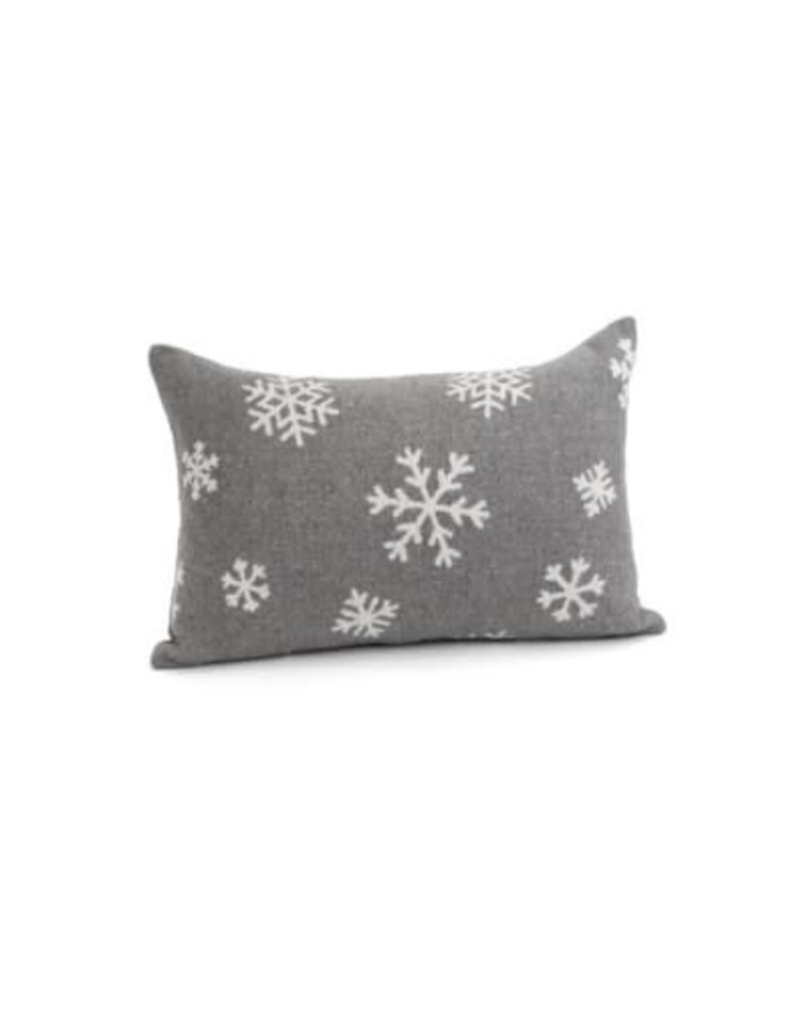 Coussin gris avec flocons de neige