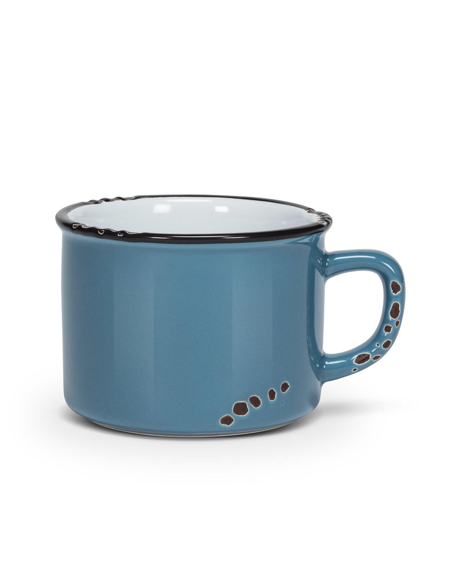 Tasse cappuccino bleue en grès (8 oz)