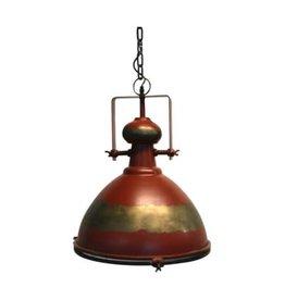 Luminaire en métal rouge antique