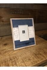 Cadre en bois bleu et blanc