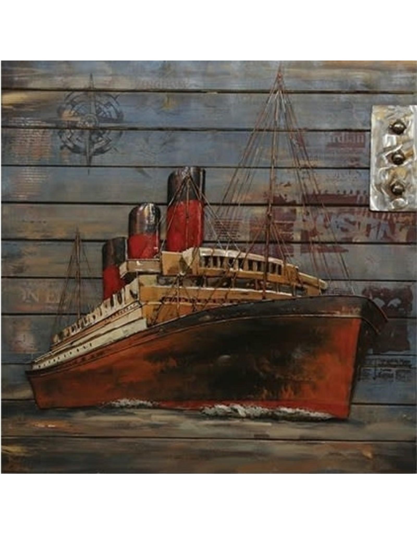 Cadre navire rouge 3D sur bois