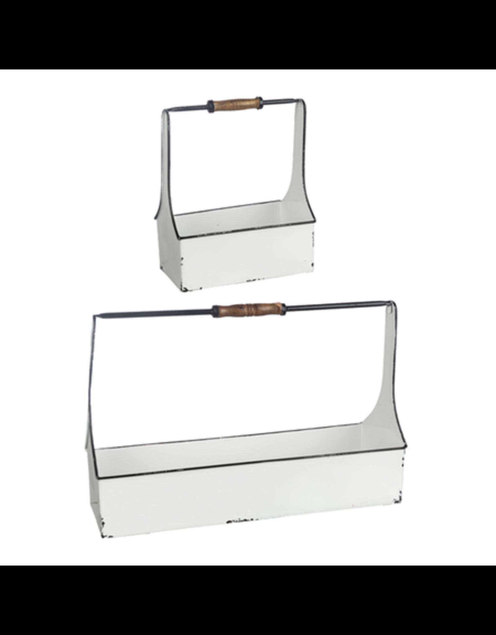 Panier de métal blanc antique - Petit