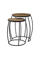 Tables d'appoint rondes en bois et métal