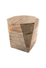 Table d'appoint octogonale en bois recyclé