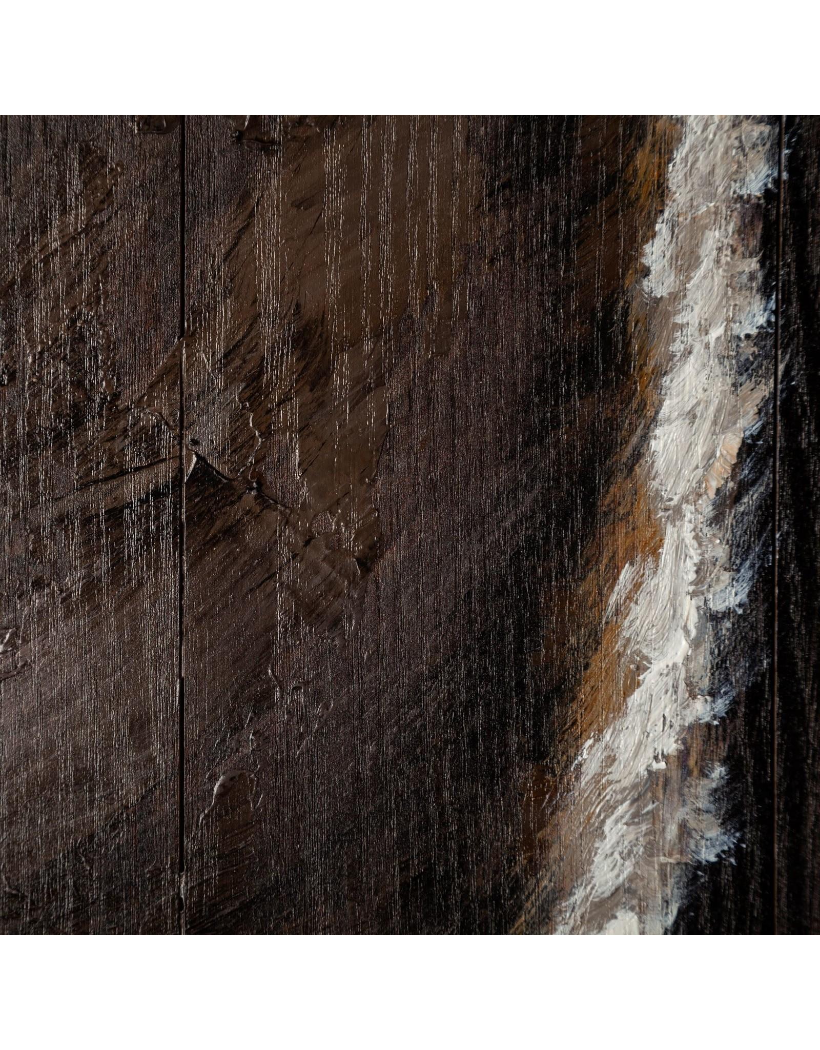 Cadre tête de cheval peint à la main sur bois