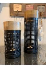 Lanterne en métal et bois   naturel-noir