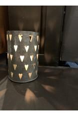 """Lanterne coeurs 4.5"""" zinc"""