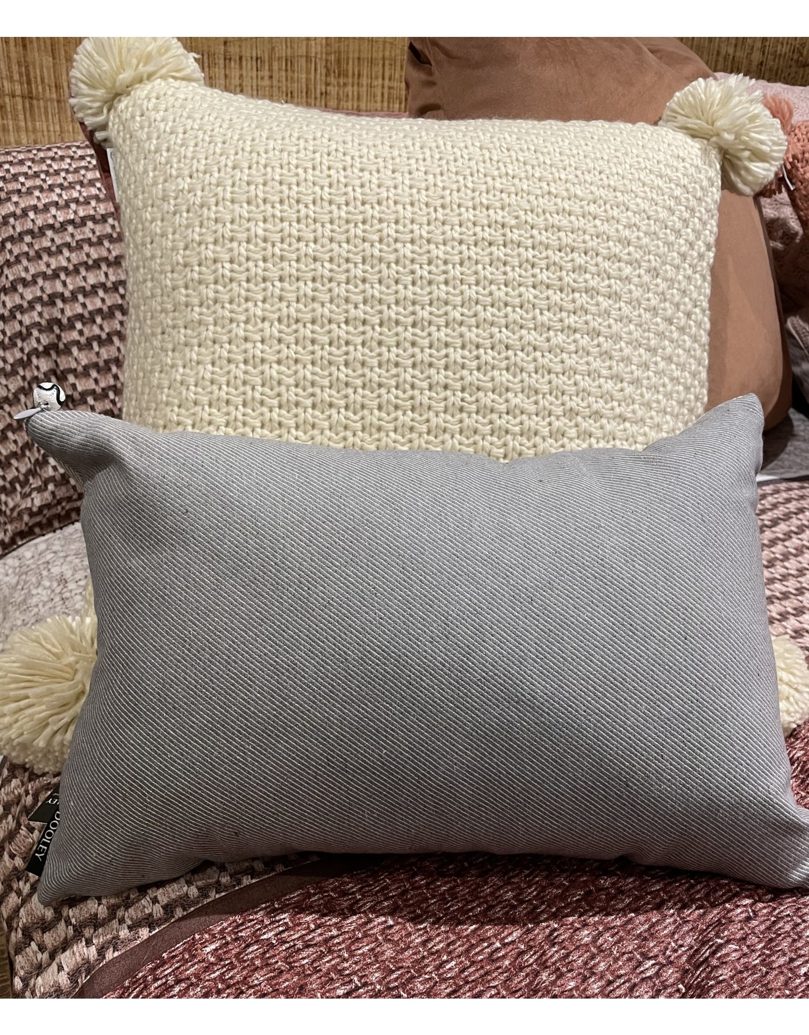 """Accent Mode Coussin gris Twill 12"""" x 18"""""""