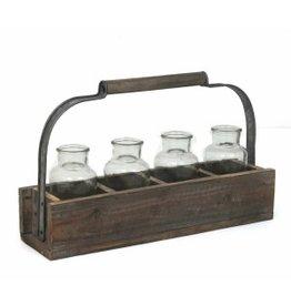 Panier en  bois avec bouteilles