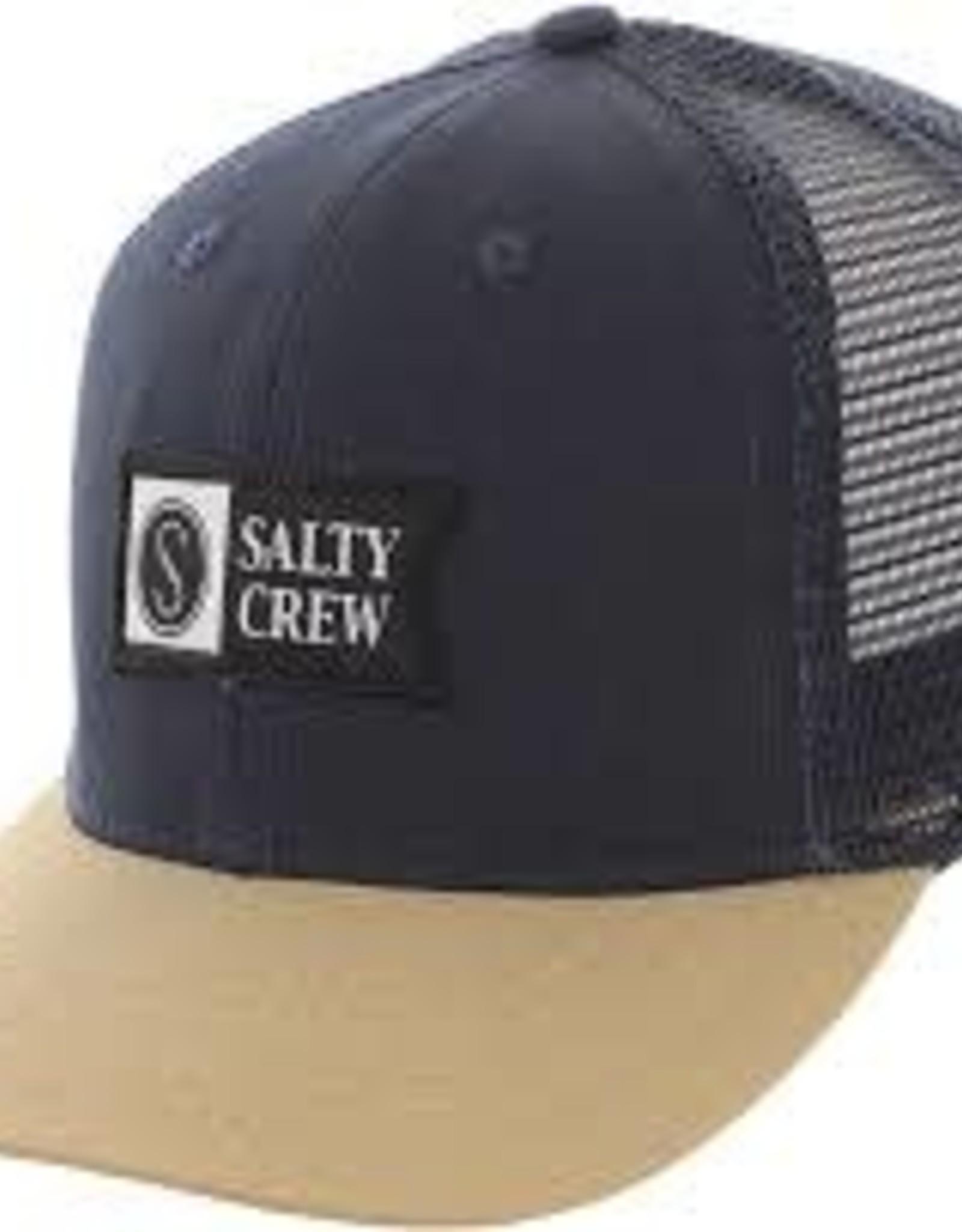 Salty Crew Pinnacle Retro Trucker Hat  Navy/Tan