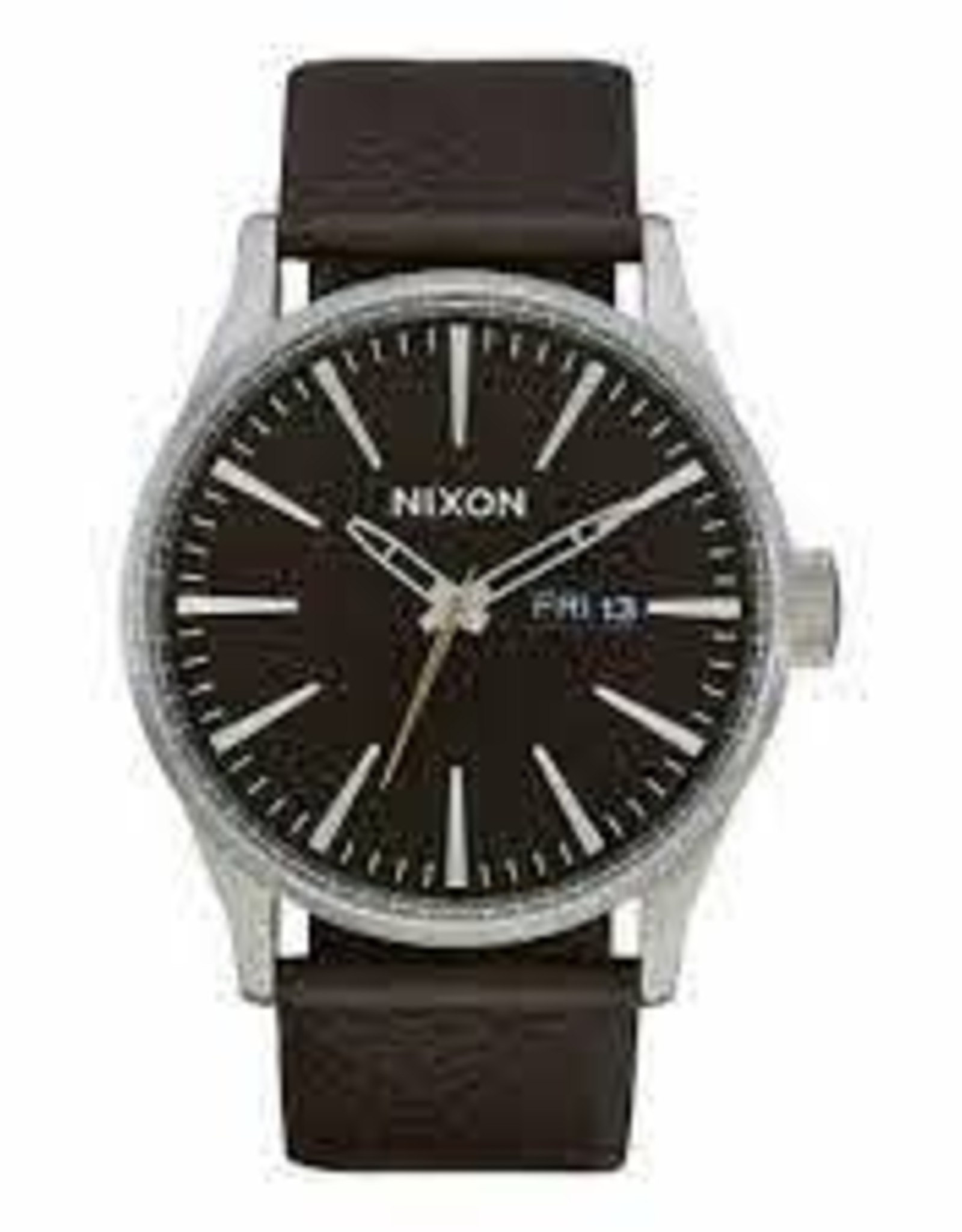 nixon nixon sentry leather watch dark cedar/dark brown