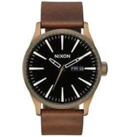 nixon nixon sentry leather watch brass/black/brown