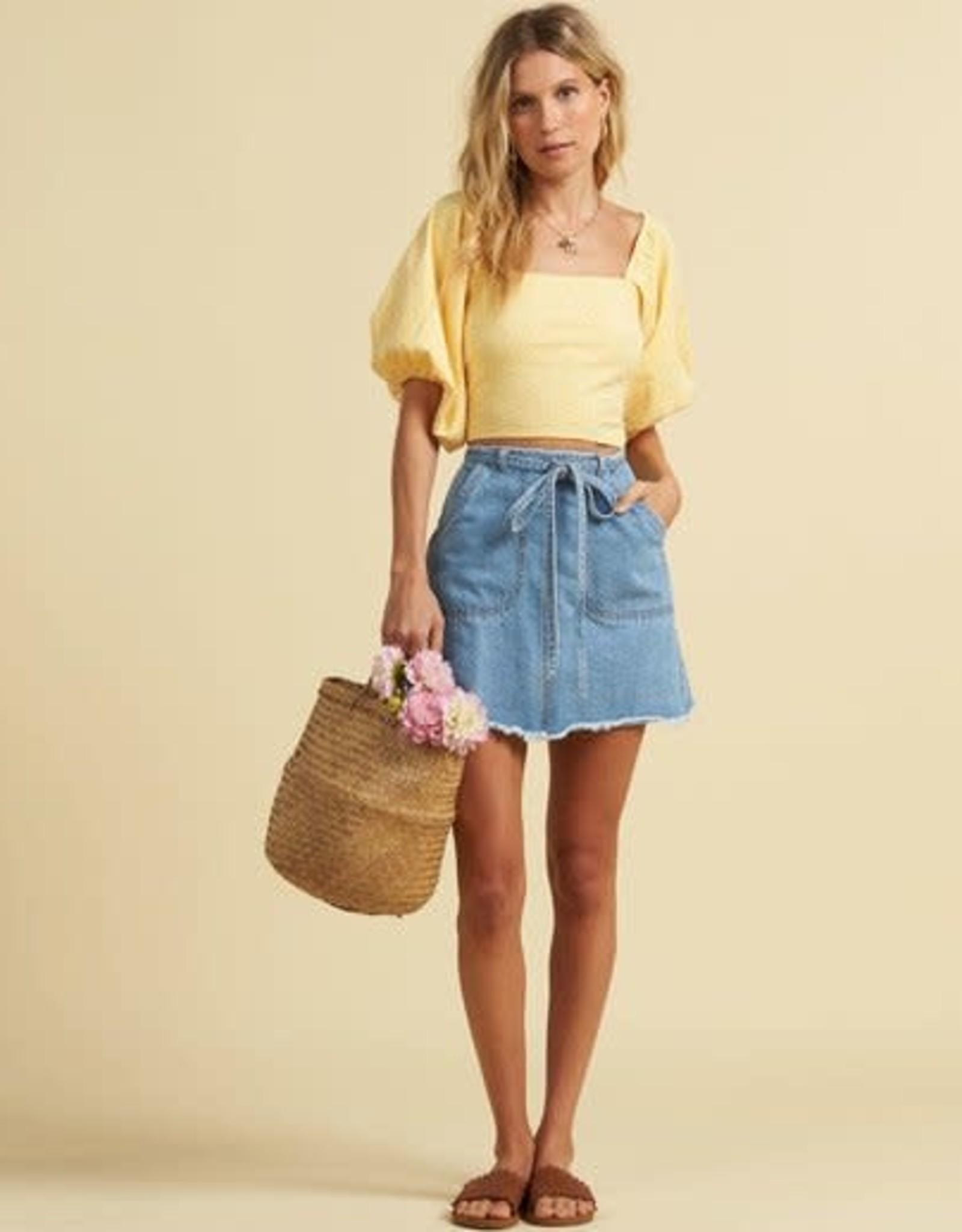 billabong Billabong Tied Up Denim Mini Skirt JK033BTI