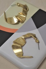 Ruffled Gold Hoops