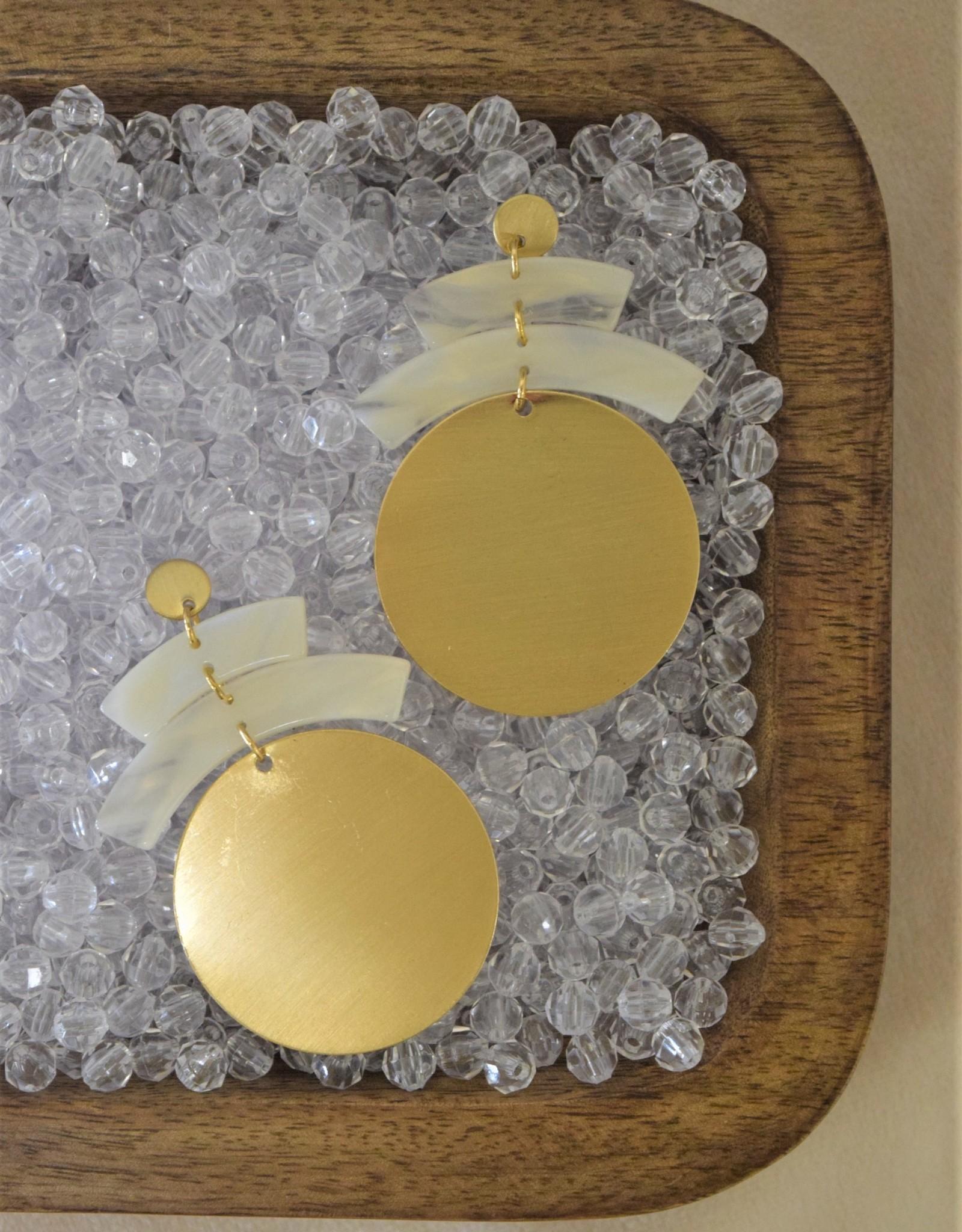 Disc Earrings Gold/Ivory