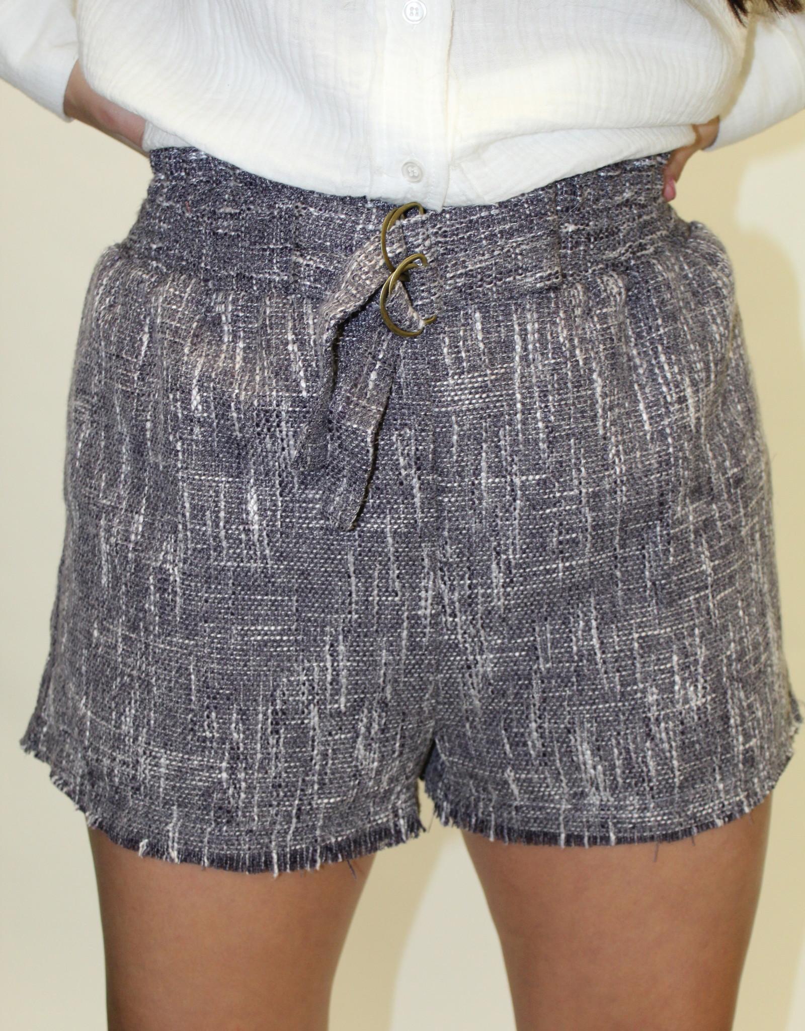 Navy Tweed Shorts