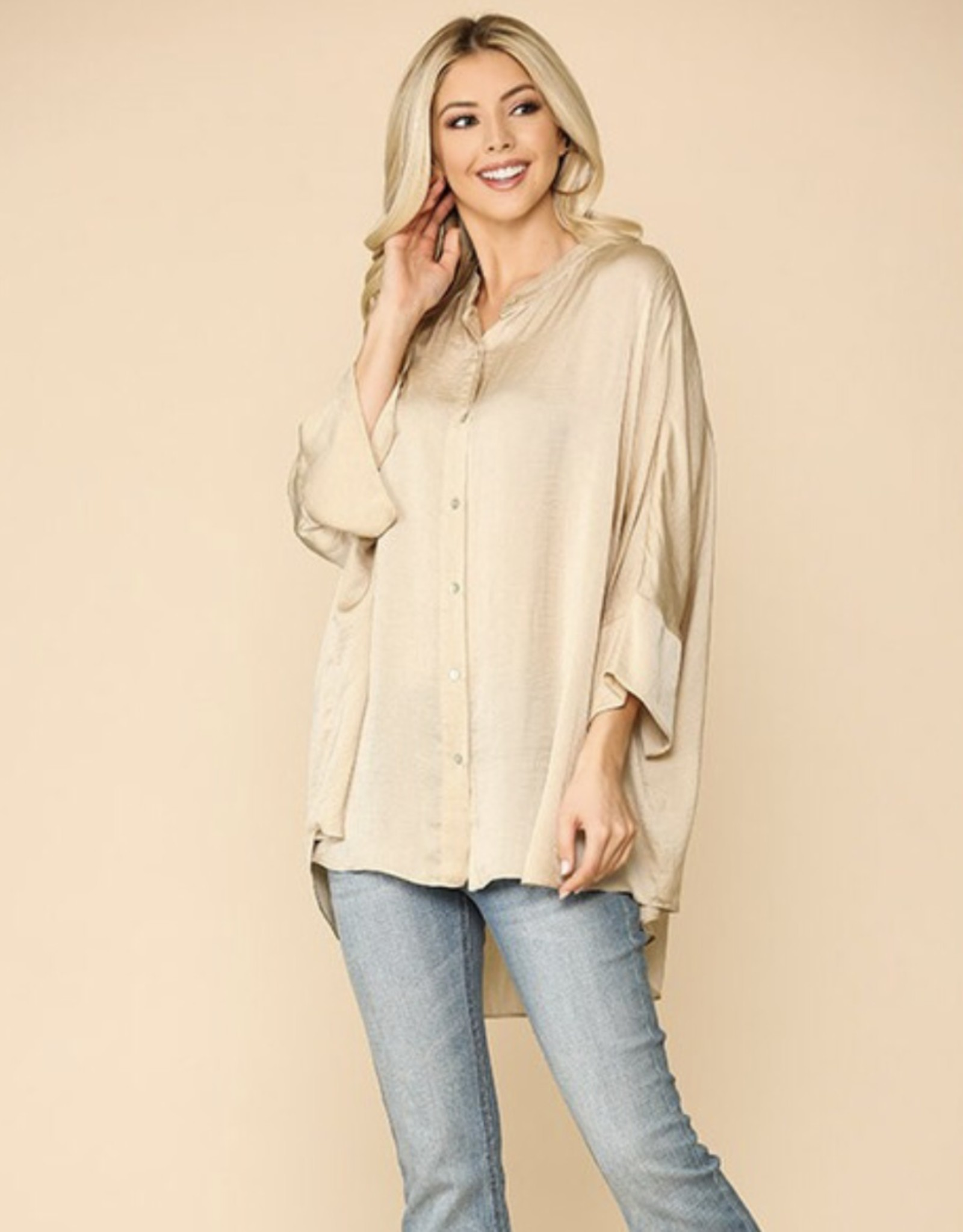 Washed Satin Button Down Top