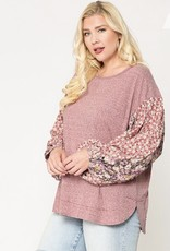 Floral Sleeve/Knit Top