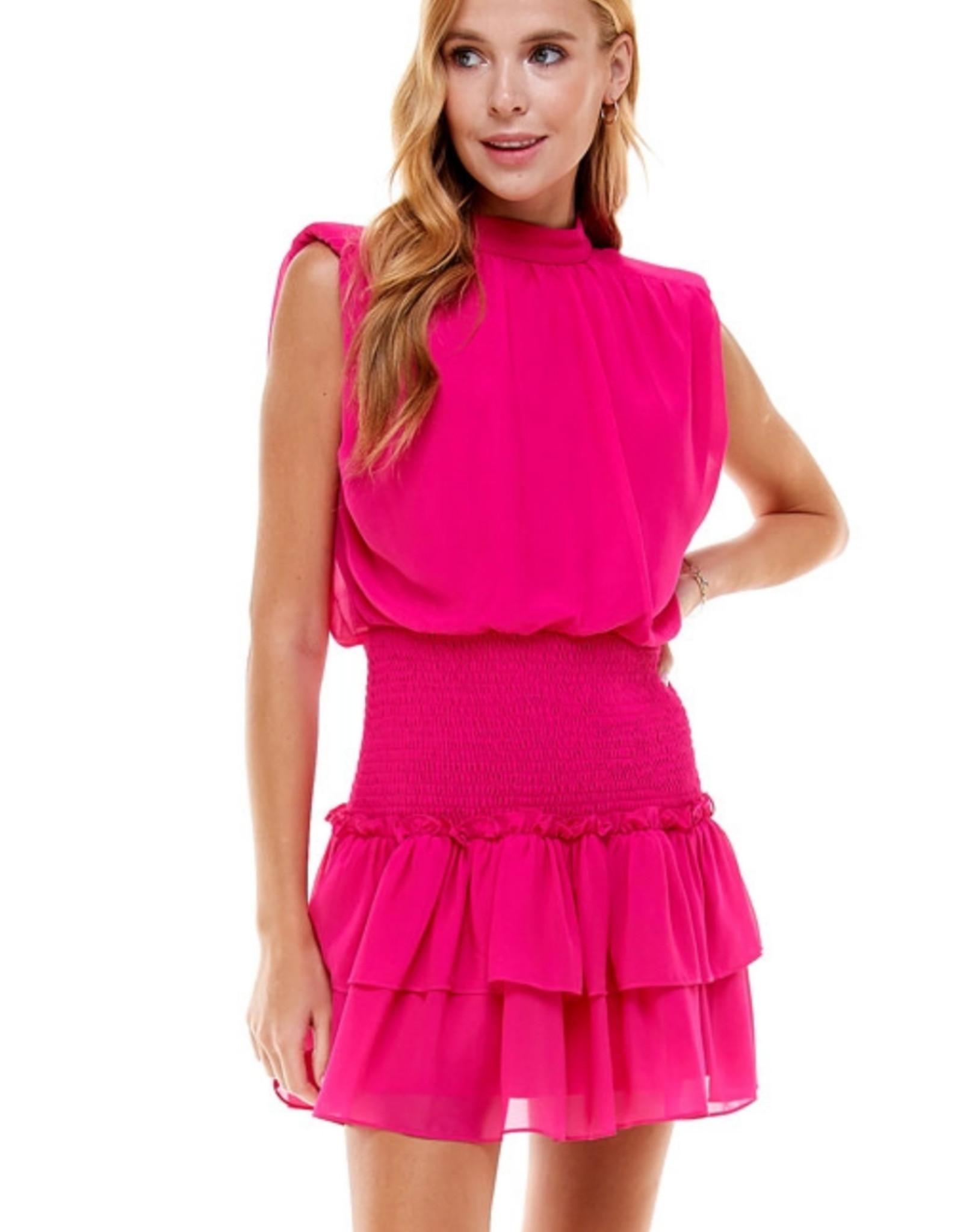 Ruffled Shoulder Pad Dress
