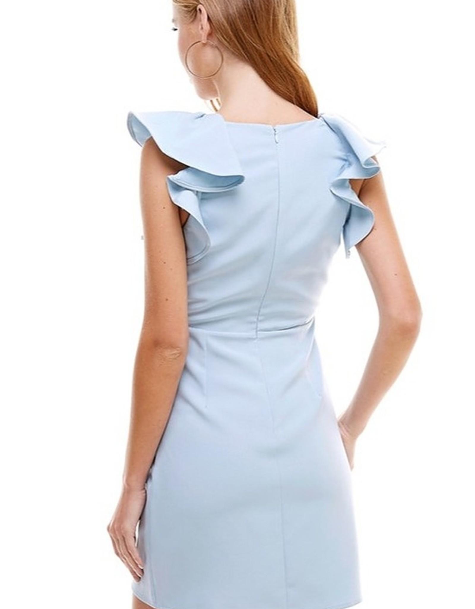 Ruffle Sleeve Tailored Dress